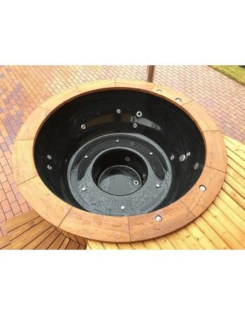Schwarz Fiber Glass Badetonne  mit Thermoholzausarbeitung
