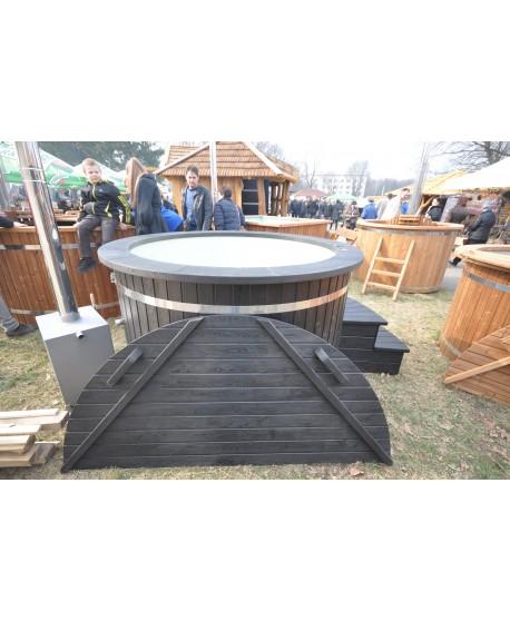 Schwarz Badetonne mit Kunststoffeinsatz 1.6 m