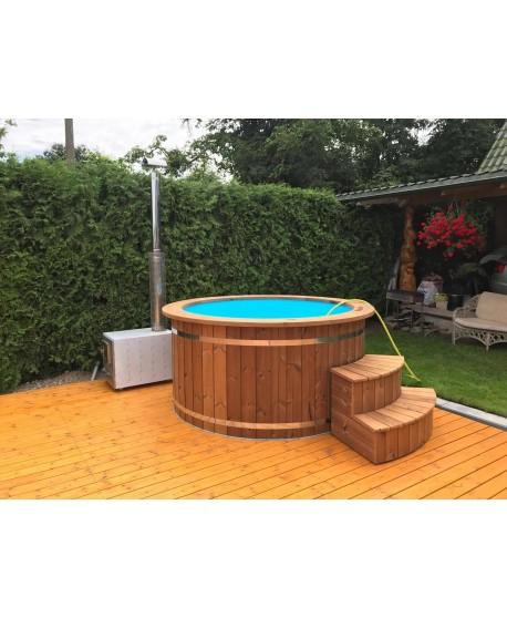 Badefass mit Kunststoffeinsatz und Thermoholz