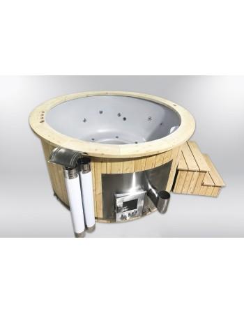 Badetonne GFK Fichte mit integriertem Ofen 180 cm