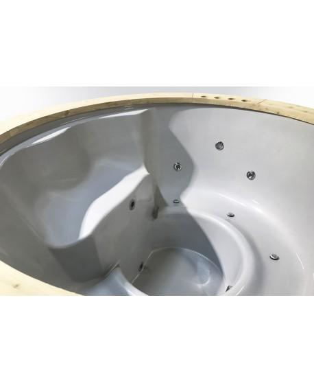 Badezuber GFK Fichte mit integriertem Ofen 180 cm