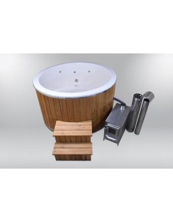 Hotpot mit Fiberglasdeckel und aussenofen 180cm