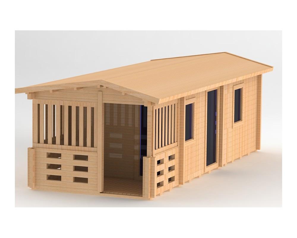 Quadratische Sauna mit Holzofen