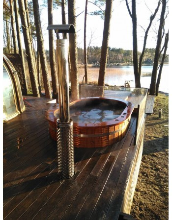 Badewanne Oval mit Holzofen