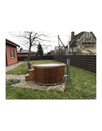 Fiberglas-Badetonne mit Lärche -Dekoration 182cm