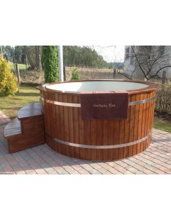 Badewanne aus Lärche mit Kunststoffeinsatz