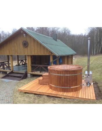 Badefass aus Thermoholz mit Kunststoffeinsatz