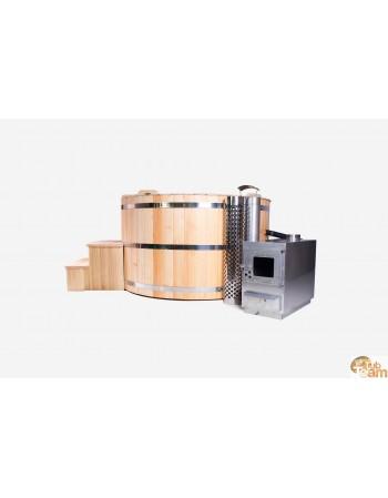 Lärchenholz-Badetonne mit externer Edelstahlheizung